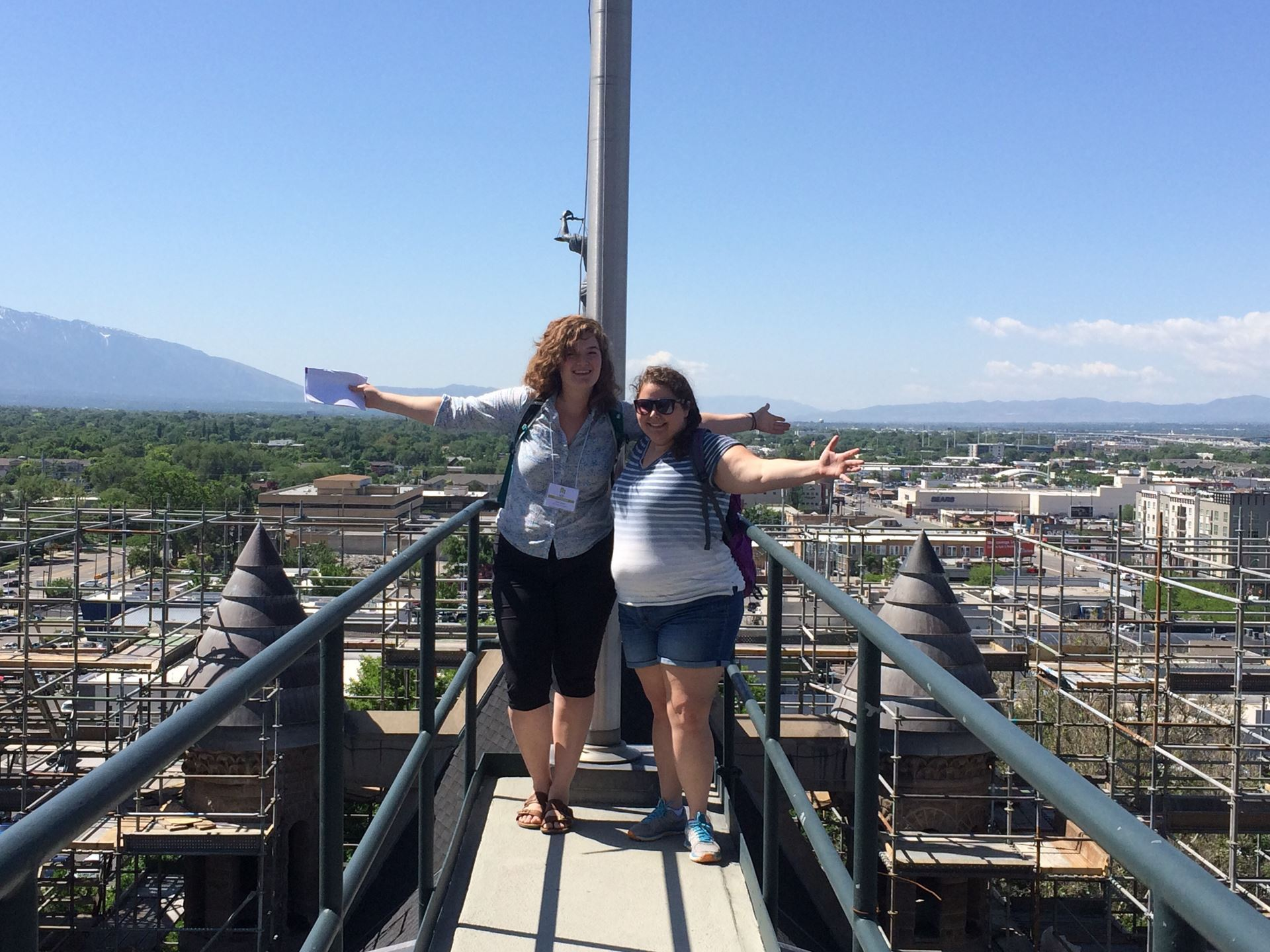 Kellyn and Emily on the top of the Salt Lake City and County Building, VAF 2017