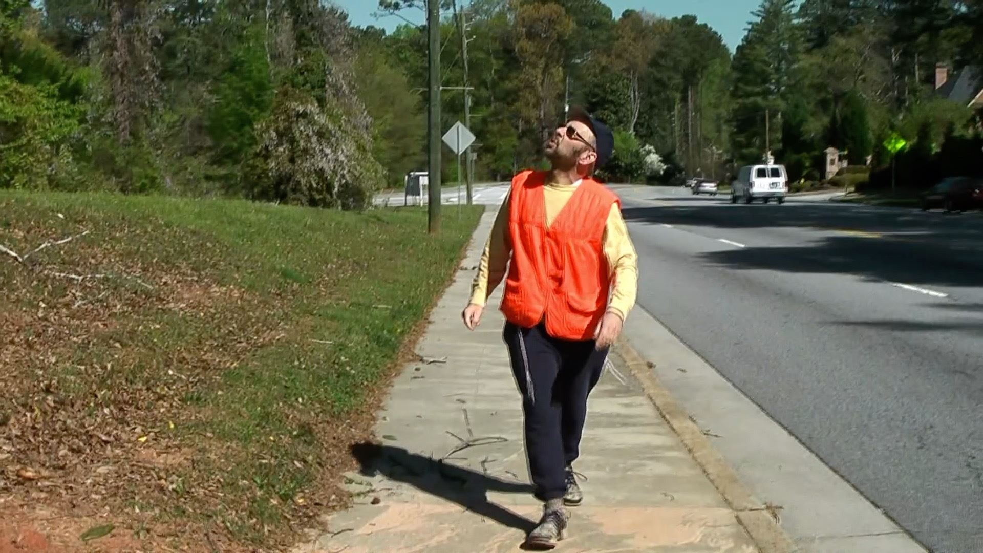 Rabbi Ariel Asa inspects an eruv boundary in Atlanta, Georgia, in 2011.