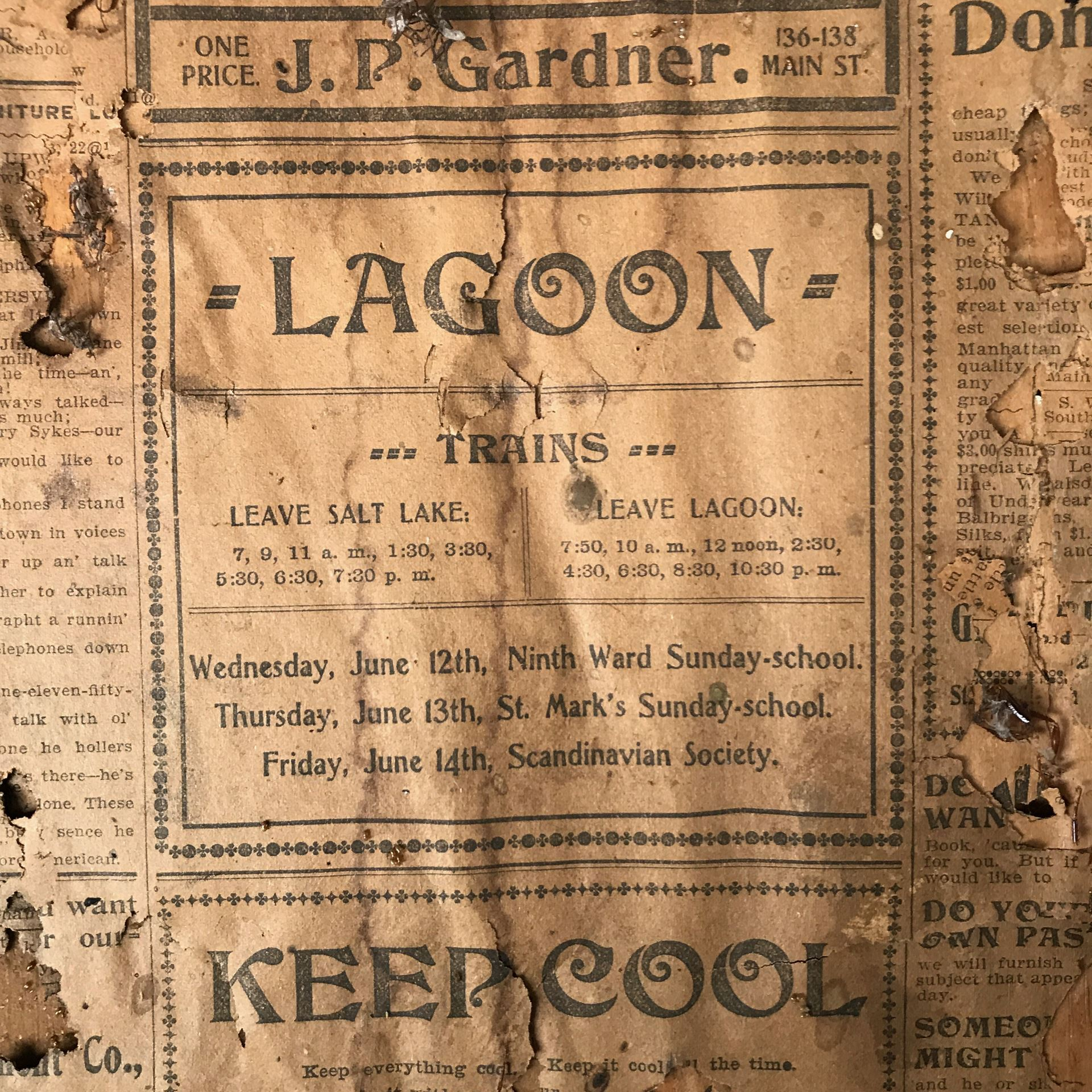 - A section from the newspaper insulation showing the Lagoon train schedule.