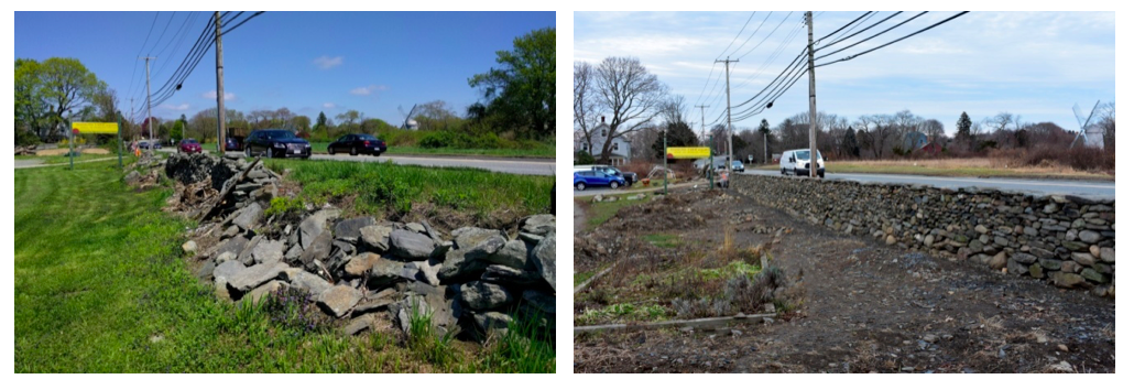Comparison of before and after of the stone wall repairs at Simmons Farm in Middletown, Rhode Island. Photo courtesy of author.
