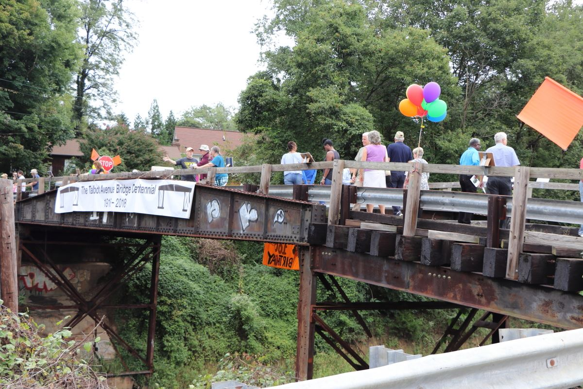 Residents of three neighborhoods converted the Talbot Avenue Bridge into festival space to celebrate the structure's 100th birthday, September 22, 2018.