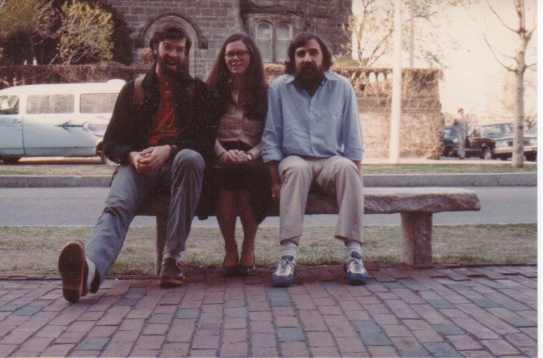 From left to right Ned Cooke, Claire Dempsey, and Myron Stachiw, on a bench in front of 226 Bay State Road, ca. 1980.