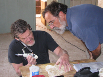 Myron Stachiw (right) with conservator John Vaughn, Architectural Conservation Services, Bristol, RI investigating a 1761 house on Martha's Vineyard for the preparation of a historic structures report in 2016. Photo courtesy of Myron Stachiw.